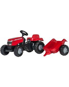 Trator-a-pedais-Massey-Ferguson-reboque-Rollykid-012305-RollyToys-agridiver-vermelho